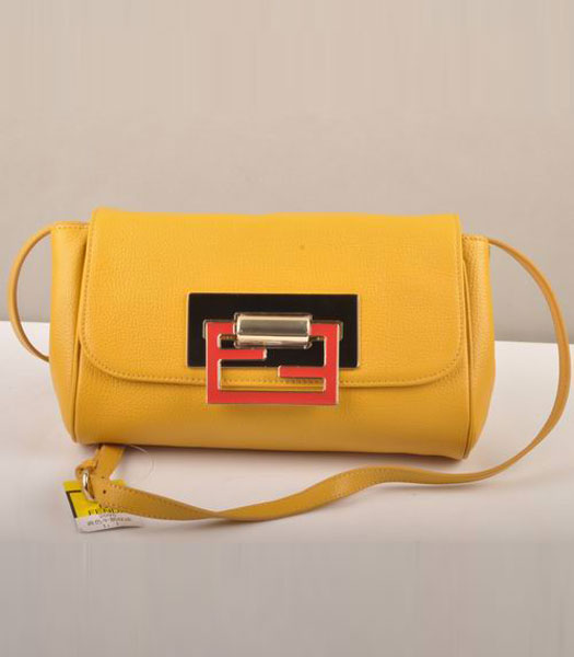Fendi Flap Calfskin Leather Small Shoulder Bag Yellow