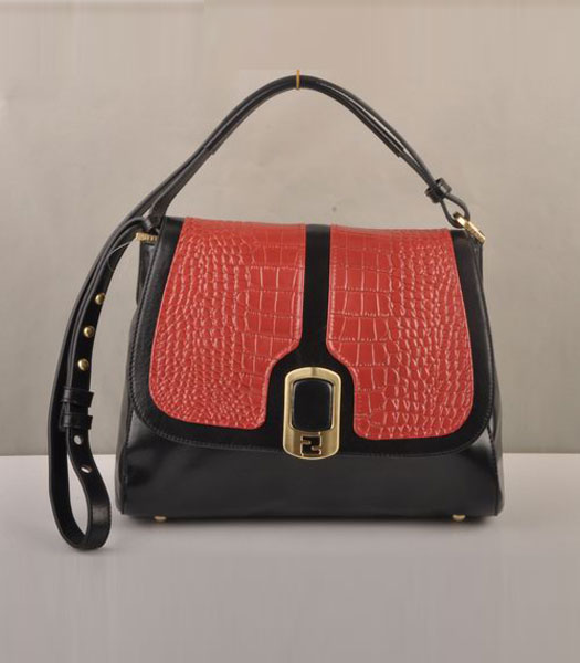 Fendi Anna Black Oil Leather with Red Croco Shoulder Bag