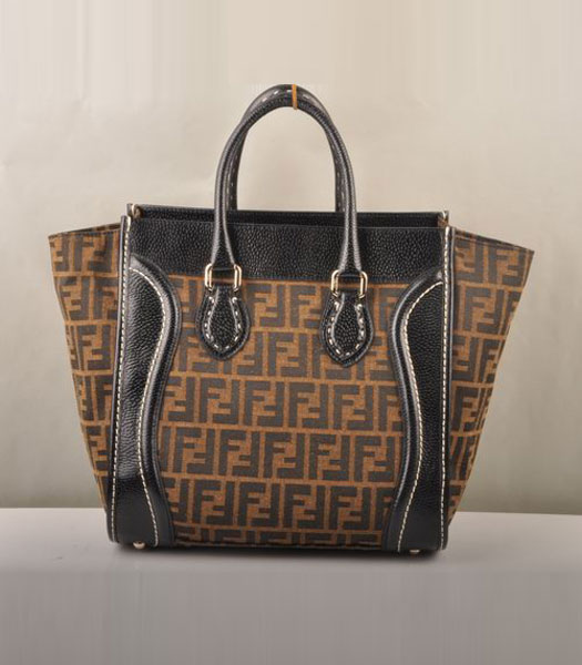 Fendi Zucca F Fabric with Black Leather Tote Bag