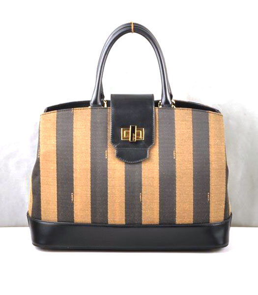 Fendi Fabric with Calfskin Leather Satchel Bag Black