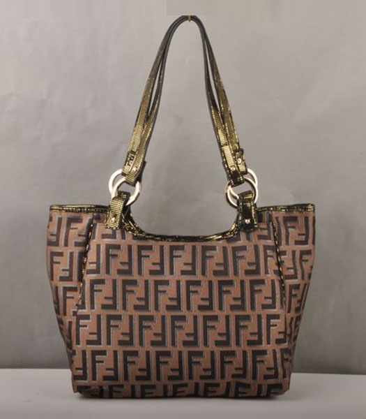 Fendi F Fabric with Gold Grain Leather Small Shouder Bag