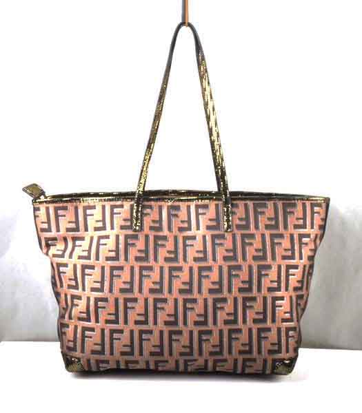 Fendi F Fabric with Gold Grain Leather Tote Bag