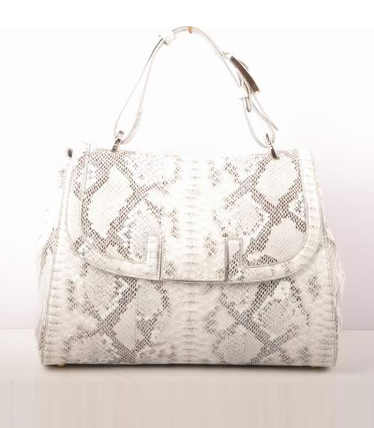 Fendi Snake Veins Calfskin Leather Small Shoulder Bag White