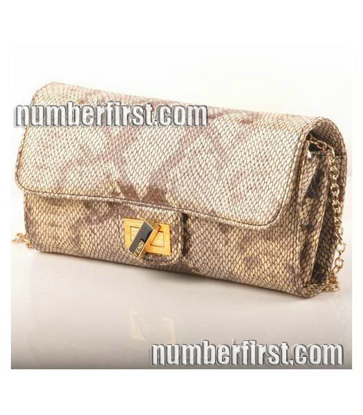 Fendi Snake Veins Leather Chain Shoulder Bag Coffee-1