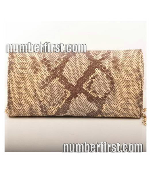 Fendi Snake Veins Leather Chain Shoulder Bag Coffee-2