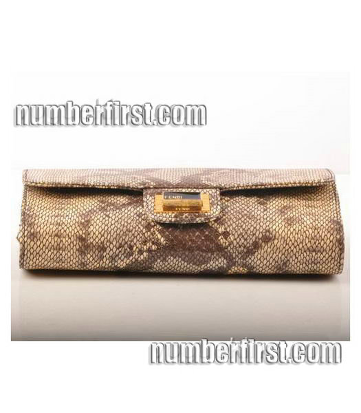 Fendi Snake Veins Leather Chain Shoulder Bag Coffee-3