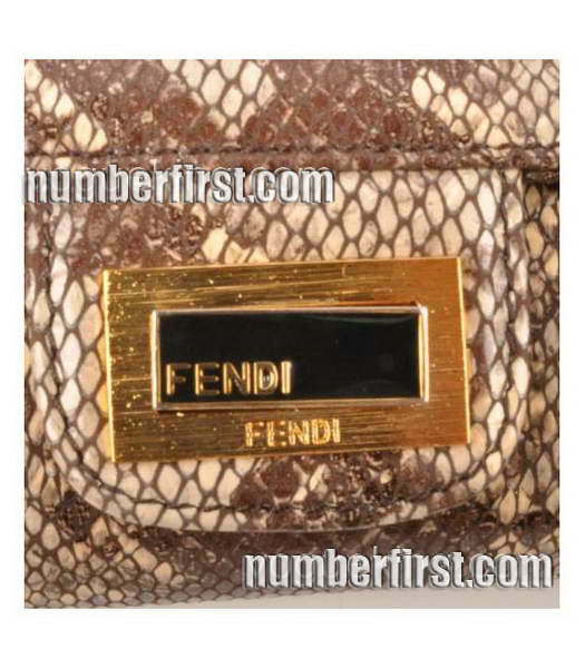 Fendi Snake Veins Leather Chain Shoulder Bag Coffee-4