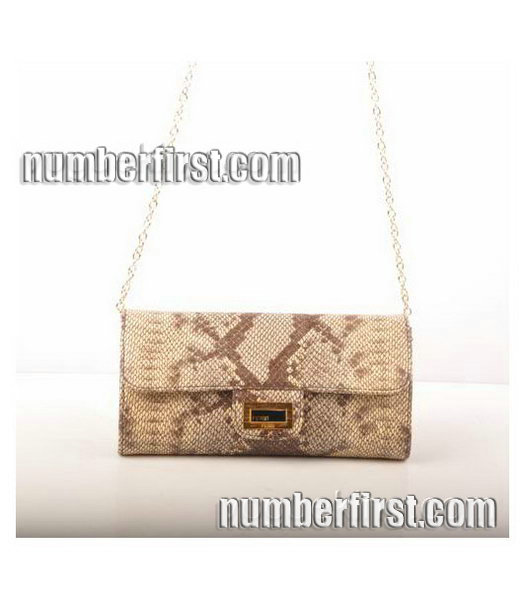 Fendi Snake Veins Leather Chain Shoulder Bag Coffee-5