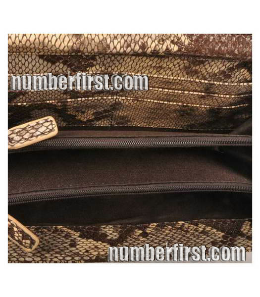 Fendi Snake Veins Leather Chain Shoulder Bag Coffee-6