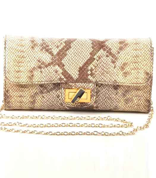 Fendi Snake Veins Leather Chain Shoulder Bag Coffee