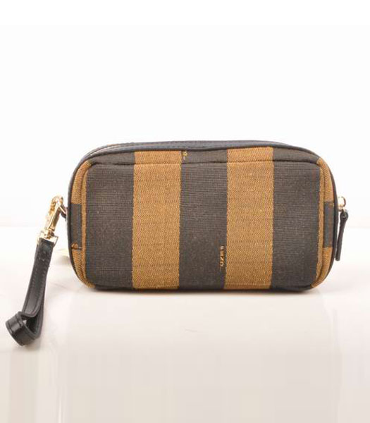 Fendi Stripe Fabric with Small Black Leather Clutch