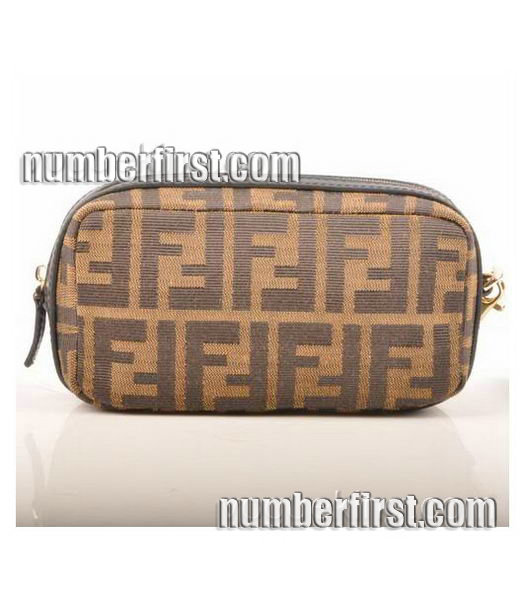 Fendi Coffee F Fabric with Small Black Leather Clutch-2