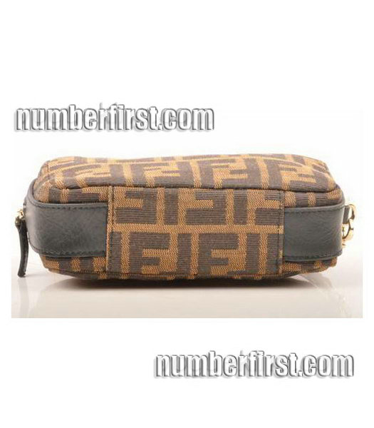Fendi Coffee F Fabric with Small Black Leather Clutch-3