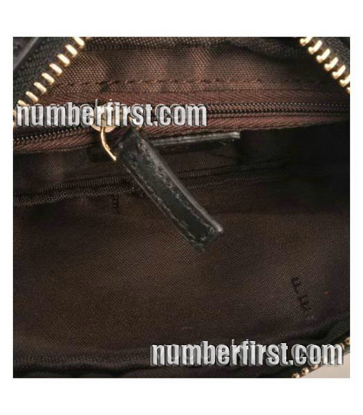 Fendi Coffee F Fabric with Small Black Leather Clutch-4