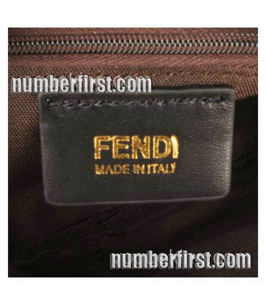 Fendi Coffee F Fabric with Small Black Leather Clutch-5