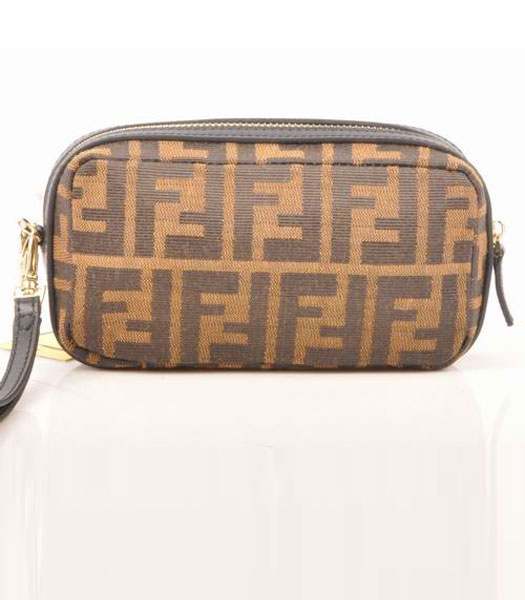 Fendi Coffee F Fabric with Small Black Leather Clutch