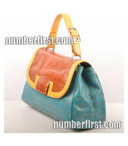 Fendi Blue Lichee Grain with Earth Yellow Croc Veins Leather Shoulder Bag-1