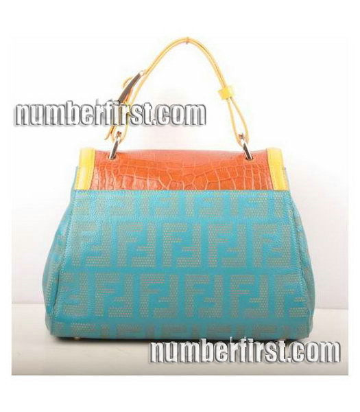 Fendi Blue Lichee Grain with Earth Yellow Croc Veins Leather Shoulder Bag-2