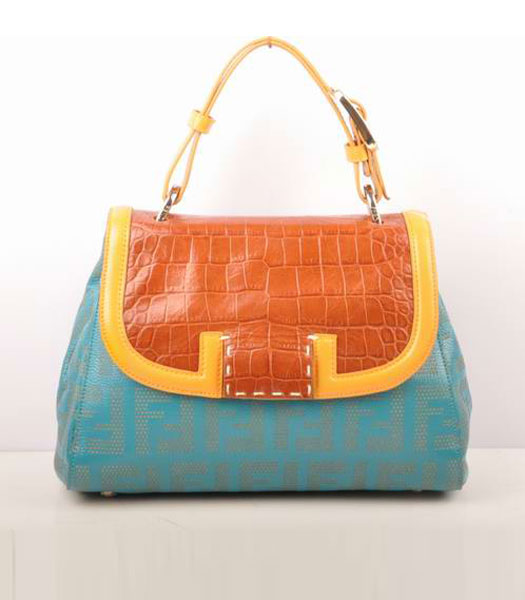 Fendi Blue Lichee Grain with Earth Yellow Croc Veins Leather Shoulder Bag