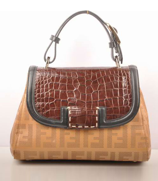 Fendi Apricot Lichee Grain with Coffee Croc Veins Leather Shoulder Bag