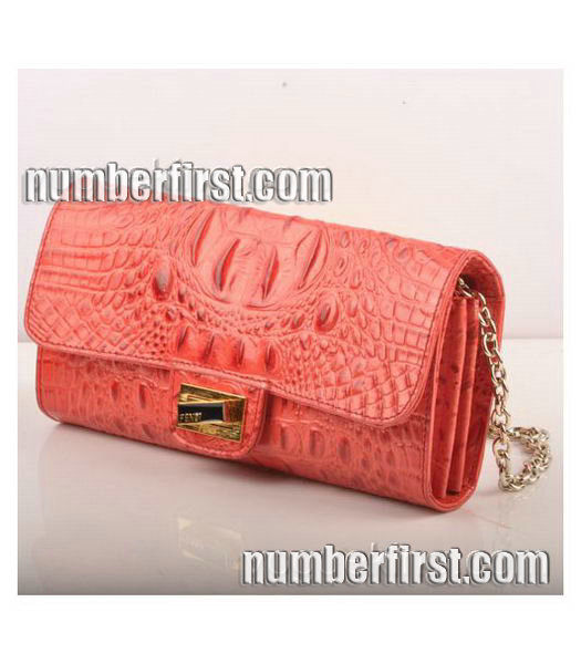 Fendi Croc Veins Leather Small Chain Shoulder Bag Red-1