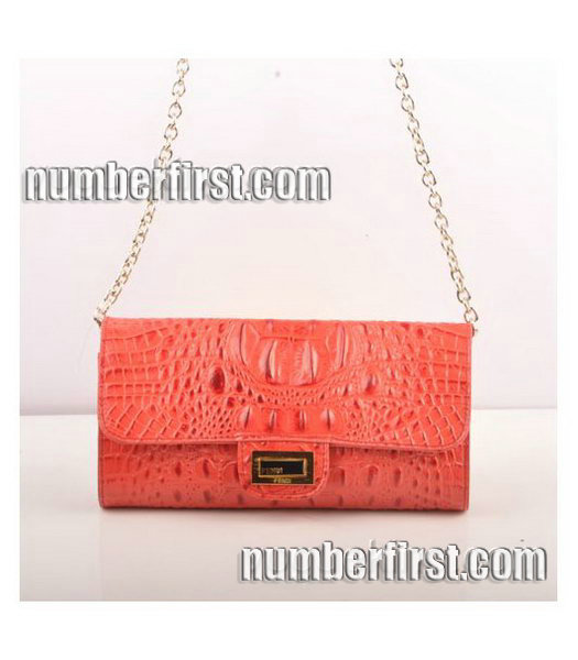 Fendi Croc Veins Leather Small Chain Shoulder Bag Red-2