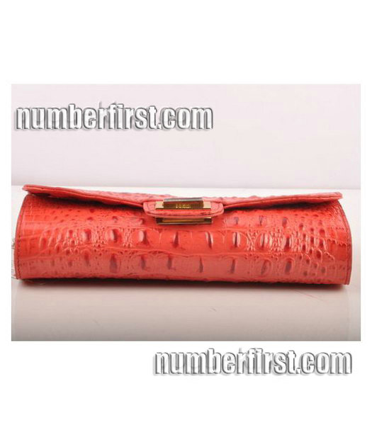 Fendi Croc Veins Leather Small Chain Shoulder Bag Red-4