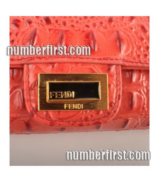 Fendi Croc Veins Leather Small Chain Shoulder Bag Red-5