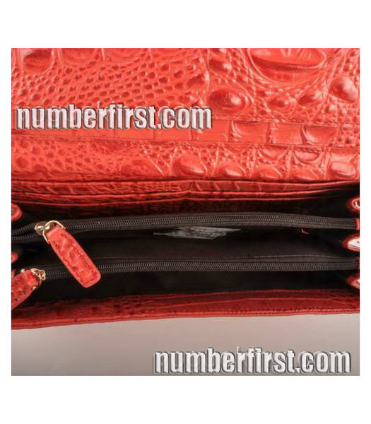 Fendi Croc Veins Leather Small Chain Shoulder Bag Red-6