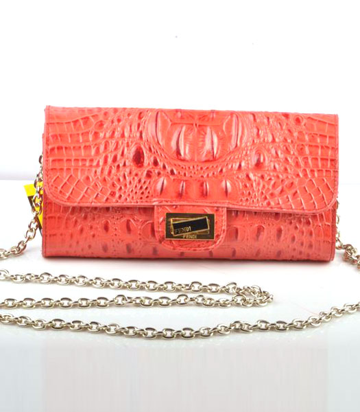 Fendi Croc Veins Leather Small Chain Shoulder Bag Red