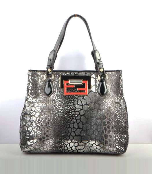 Fendi Silver Color Beads with Black Leather Handbag