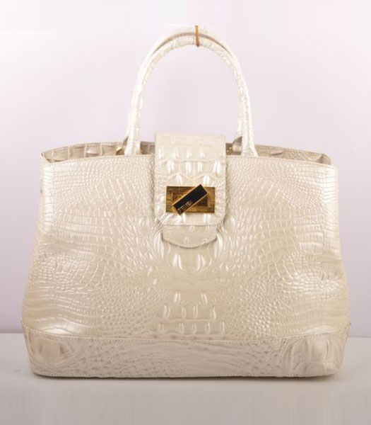 Fendi Croc Veins Calfskin Leather Tote Bag White