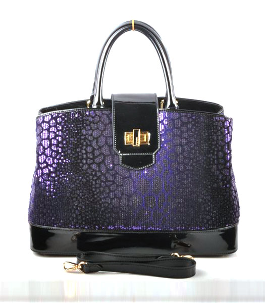 Fendi Purple Beads with Black Leather Tote Bag