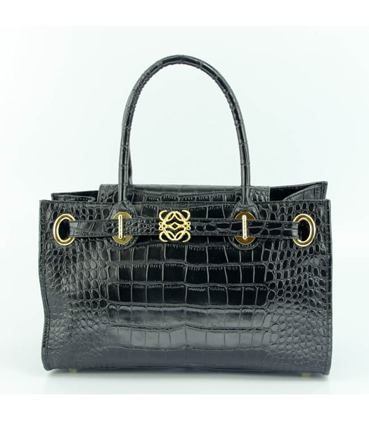 Loewe Tote Handbags Black Leather Crocodile Veins with PU Lining