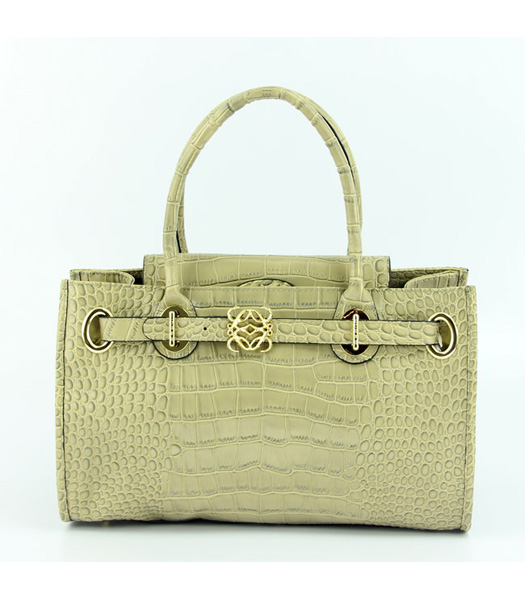 Loewe Tote Handbags Apricot Leather Crocodile Veins with PU Lining