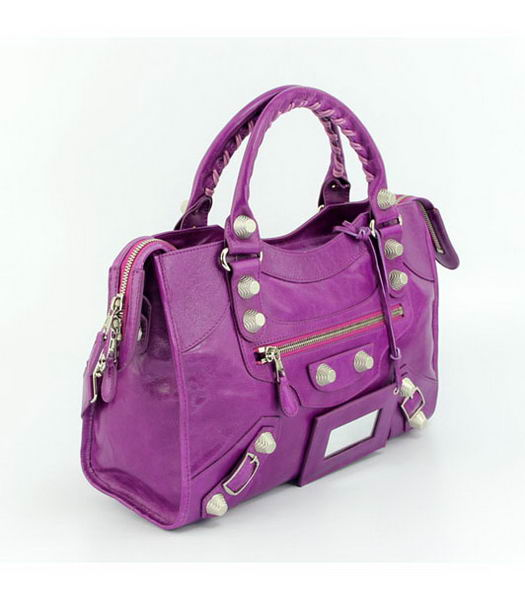 Balenciaga Motorcycle City Bag in Middle Purple Oil Leather (White Nails)-1