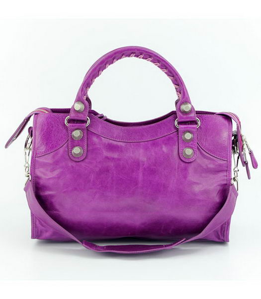 Balenciaga Motorcycle City Bag in Middle Purple Oil Leather (White Nails)-2