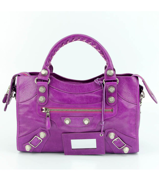 Balenciaga Motorcycle City Bag in Middle Purple Oil Leather (White Nails)