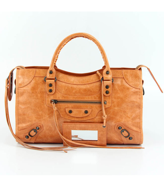 Balenciaga Motorcycle City Bag in Light Orange Oil Leather (Copper Nails)