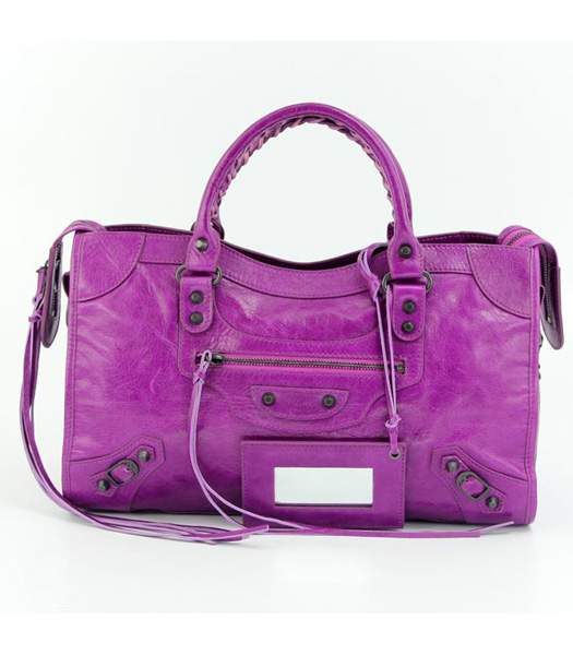 Balenciaga Motorcycle City Bag in Middle Purple Oil Leather (Copper Nails)