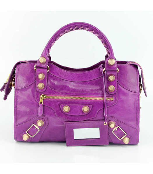 Balenciaga Motorcycle City Bag in Middle Purple Oil Leather (Gold Nails)
