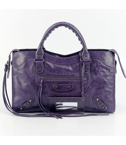 Balenciaga Motorcycle City Bag in Purple Blue Oil Leather (Copper Nails)