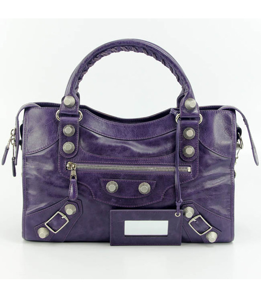 Balenciaga Motorcycle City Bag in Purple Blue Oil Leather (White Nails)