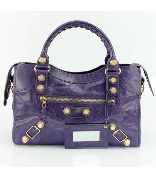 Balenciaga Motorcycle City Bag in Purple Blue Oil Leather (Gold Nails)