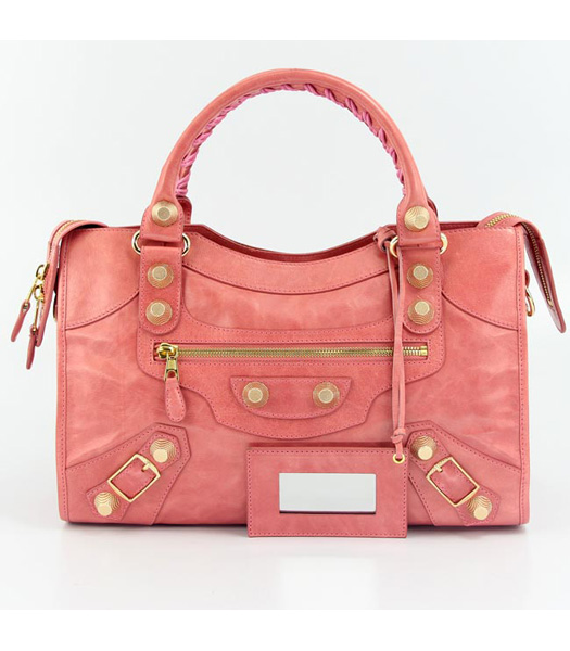 Balenciaga Motorcycle City Bag in Dark Red Oil Leather (Gold Nails)