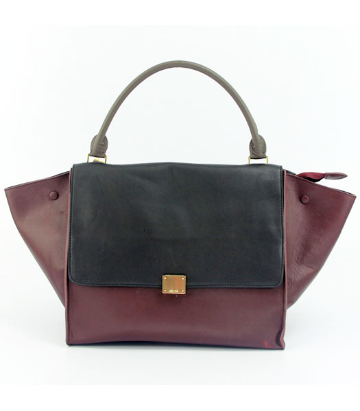 Celine Wine Red Leather with Dark Grey&Black Square Bag Lambskin Leather Lining