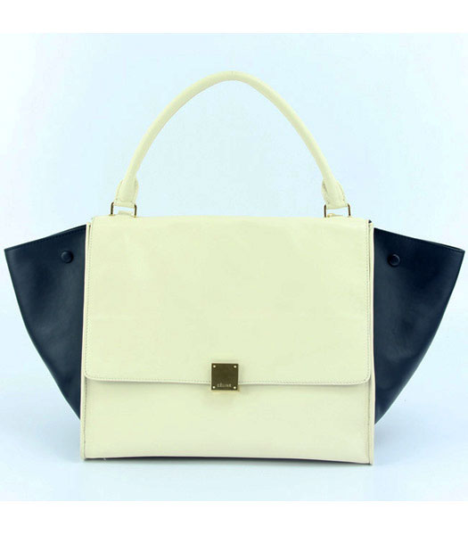 Celine Offwhite Leather with Dark Blue Square Bag Lambskin Leather Lining