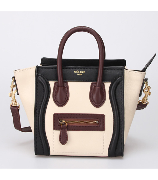 Celine Small Smile White Leather with Black&Red Tote Handbag
