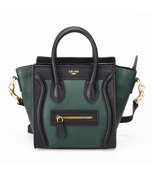 Celine Small Smile Dark Green Leather with Black Tote Handbag