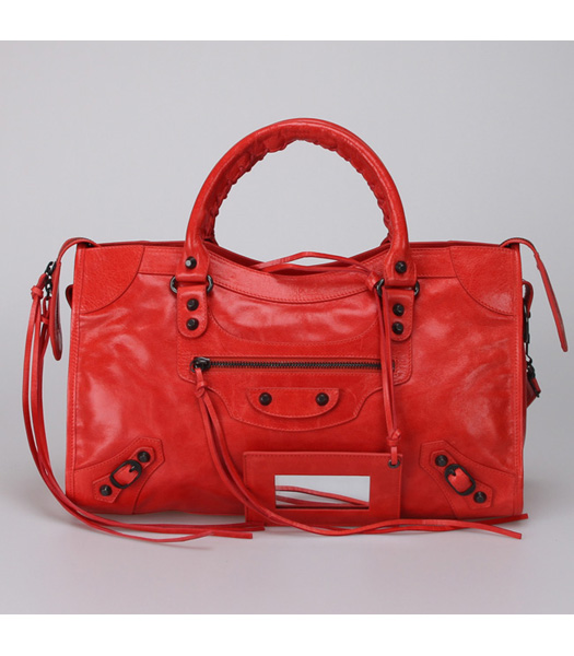 Balenciaga City Bag in Dark Red (Copper Nails)